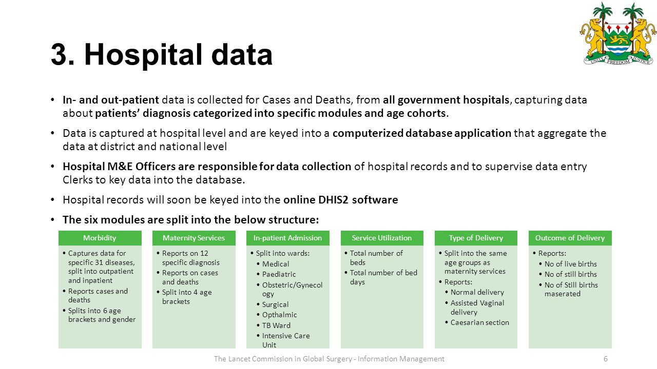 6 3. Hospital data In- and out-patient data is collected for Cases and Deaths, from all government hospitals, capturing data about patients' diagnosis
