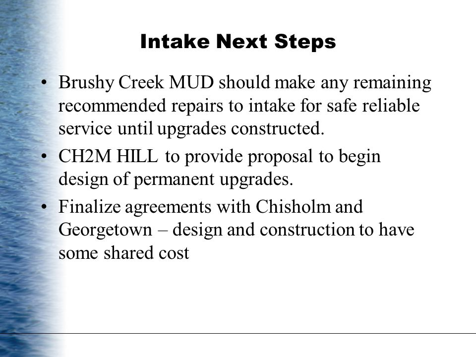 Intake Next Steps Brushy Creek MUD should make any remaining recommended repairs to intake for safe reliable service until upgrades constructed.