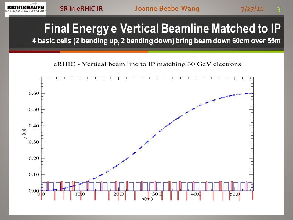 Joanne Beebe-Wang 7/27/11 3 SR in eRHIC IR Final Energy e Vertical Beamline Matched to IP 4 basic cells (2 bending up, 2 bending down) bring beam down