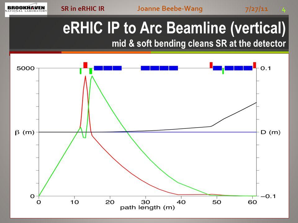 Joanne Beebe-Wang 7/27/11 4 SR in eRHIC IR eRHIC IP to Arc Beamline (vertical) mid & soft bending cleans SR at the detector