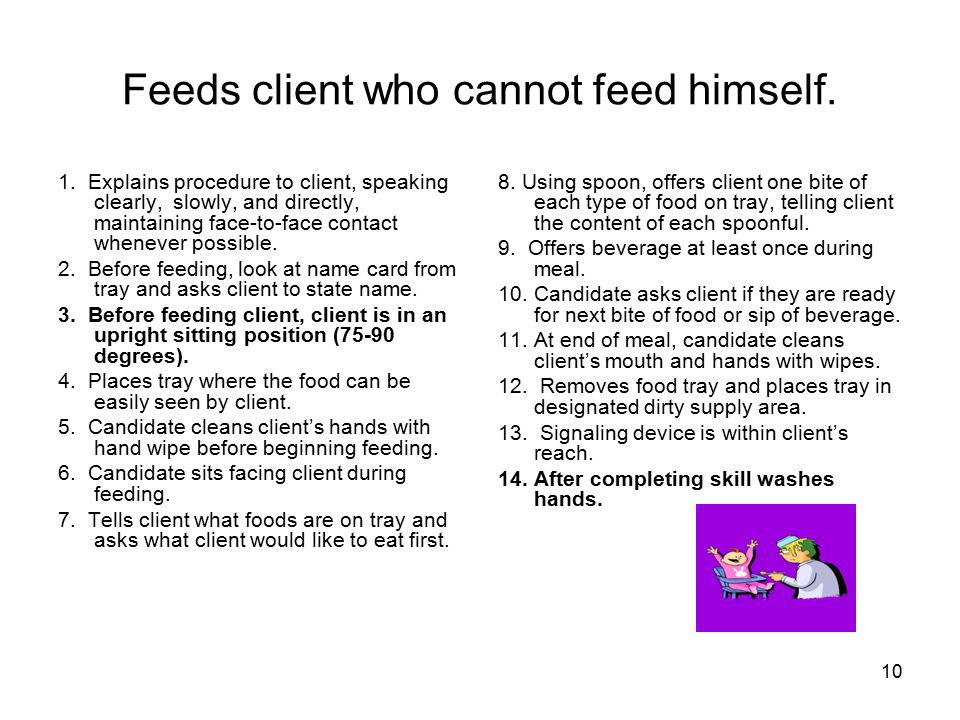10 Feeds client who cannot feed himself.1.