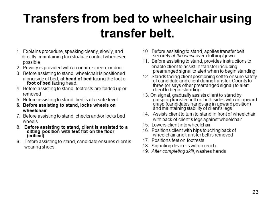 23 Transfers from bed to wheelchair using transfer belt.