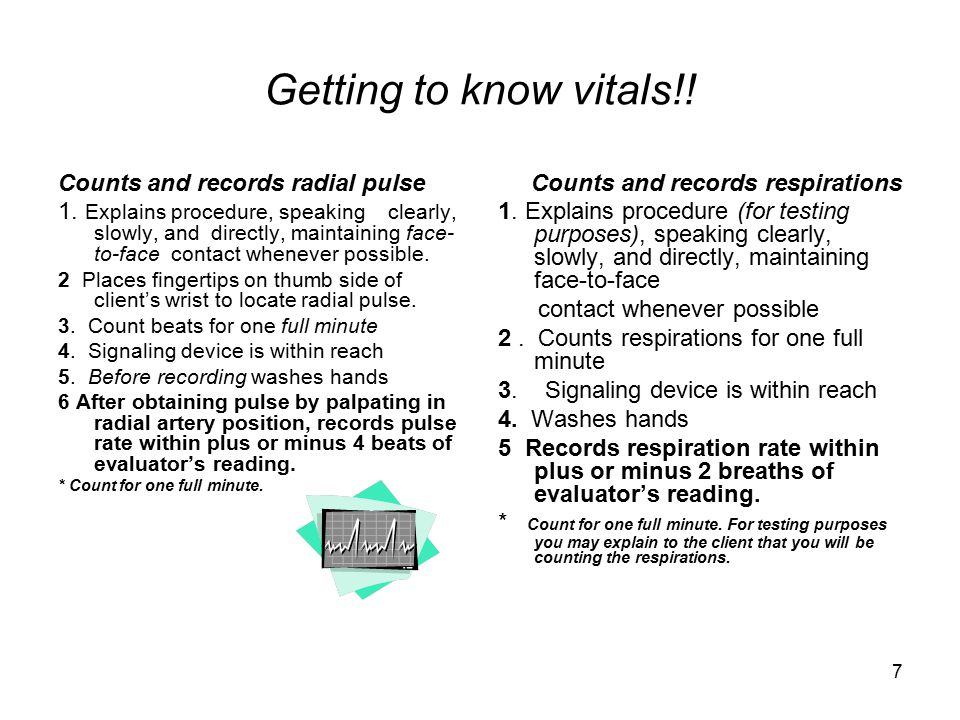 7 Getting to know vitals!.Counts and records radial pulse 1.