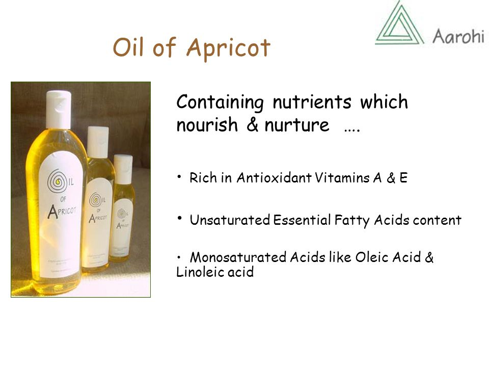 Oil of Apricot With excellent skin & hair care properties ….