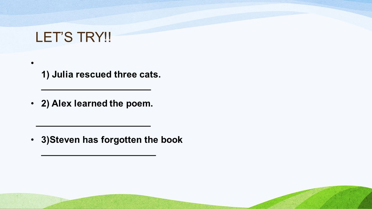 LET'S TRY!. 1) Julia rescued three cats. _____________________ 2) Alex learned the poem.