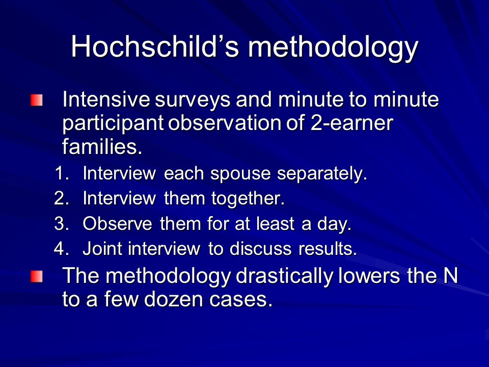Hochschild's methodology Intensive surveys and minute to minute participant observation of 2-earner families. 1.Interview each spouse separately. 2.In