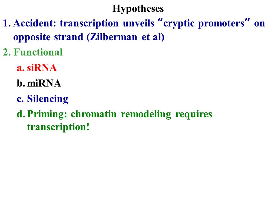 "Hypotheses 1. Accident: transcription unveils ""cryptic promoters"" on opposite strand (Zilberman et al) 2. Functional a.siRNA b.miRNA c.Silencing d.Pri"