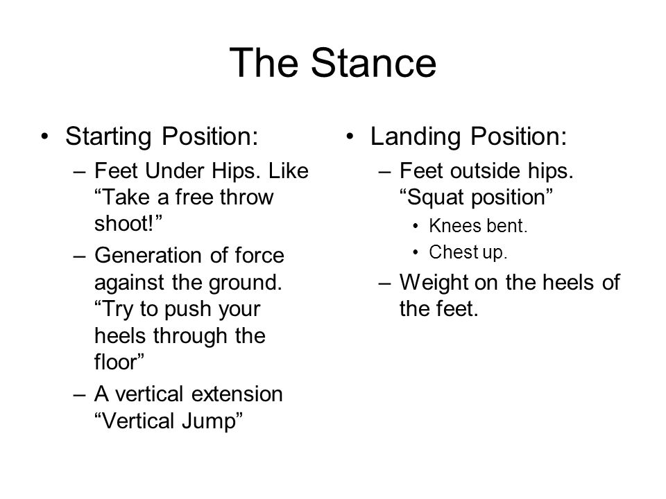 The Stance Starting Position: –Feet Under Hips.