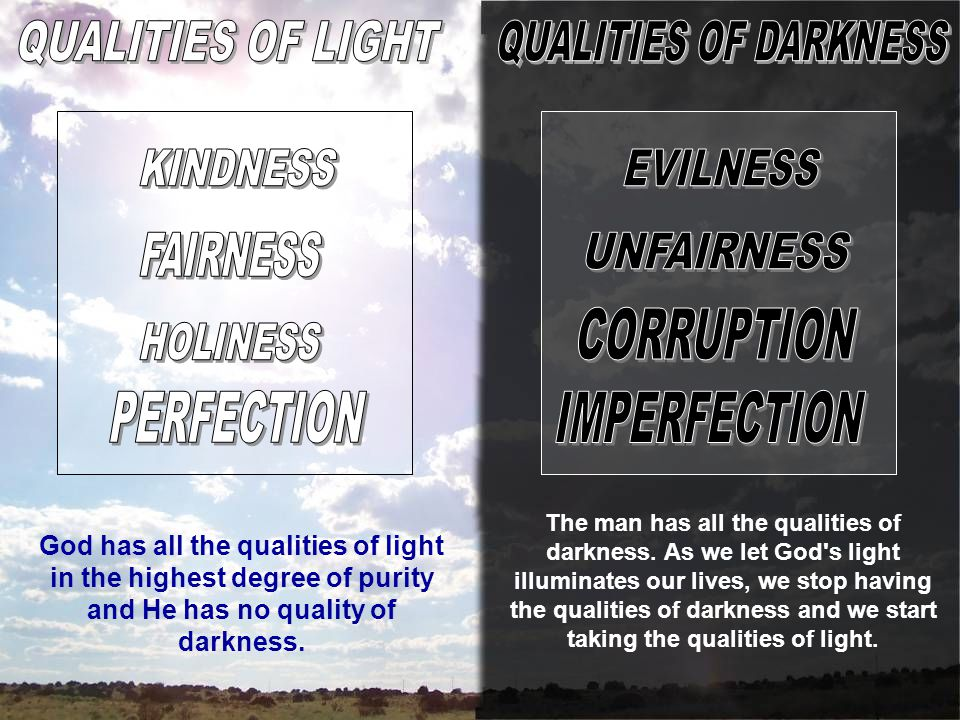 God has all the qualities of light in the highest degree of purity and He has no quality of darkness.