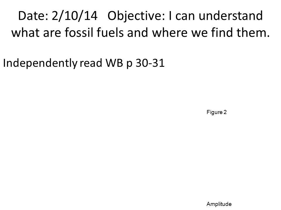 Date: 2/10/14 Objective: I can understand what are fossil fuels and where we find them. Independently read WB p 30-31 Amplitude Figure 2
