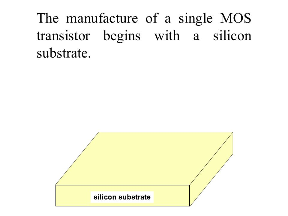 The manufacture of a single MOS transistor begins with a silicon substrate. silicon substrate