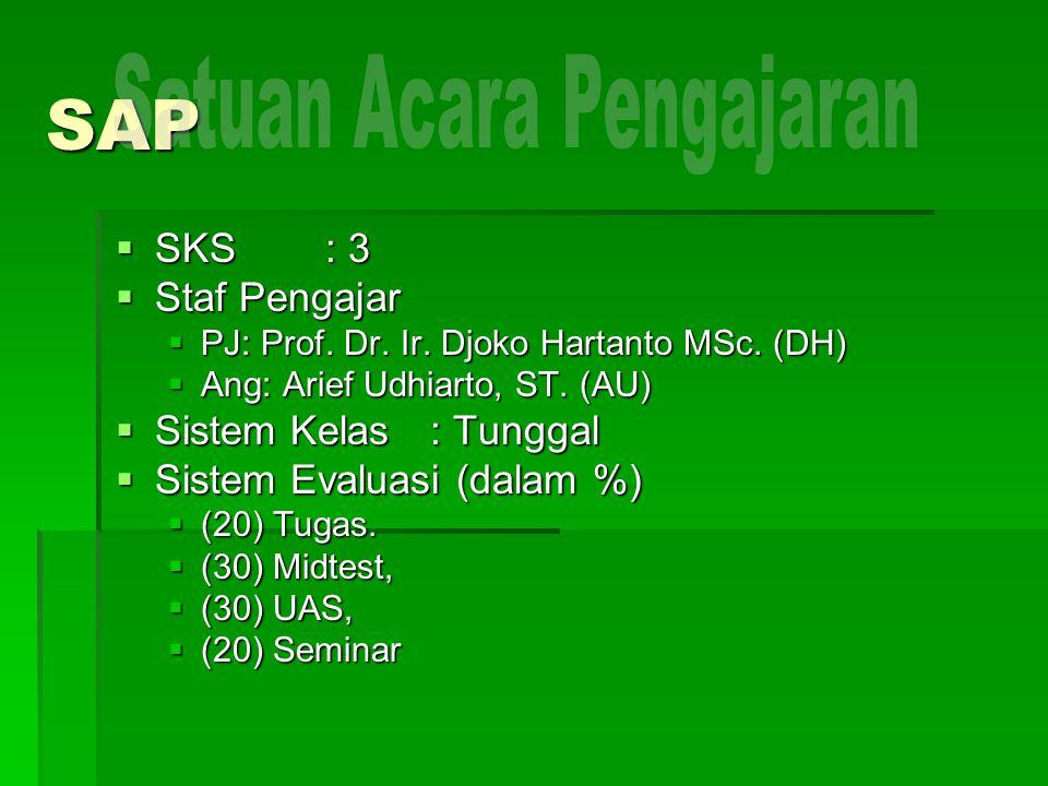 SAP  SKS: 3  Staf Pengajar  PJ: Prof.Dr. Ir. Djoko Hartanto MSc.