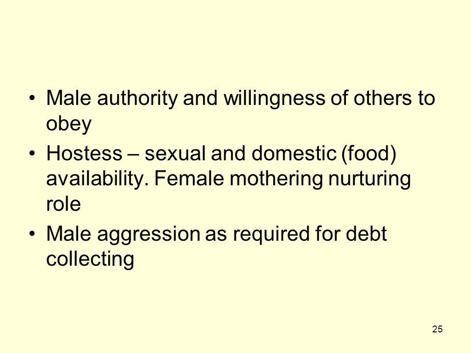 25 Male authority and willingness of others to obey Hostess – sexual and domestic (food) availability.