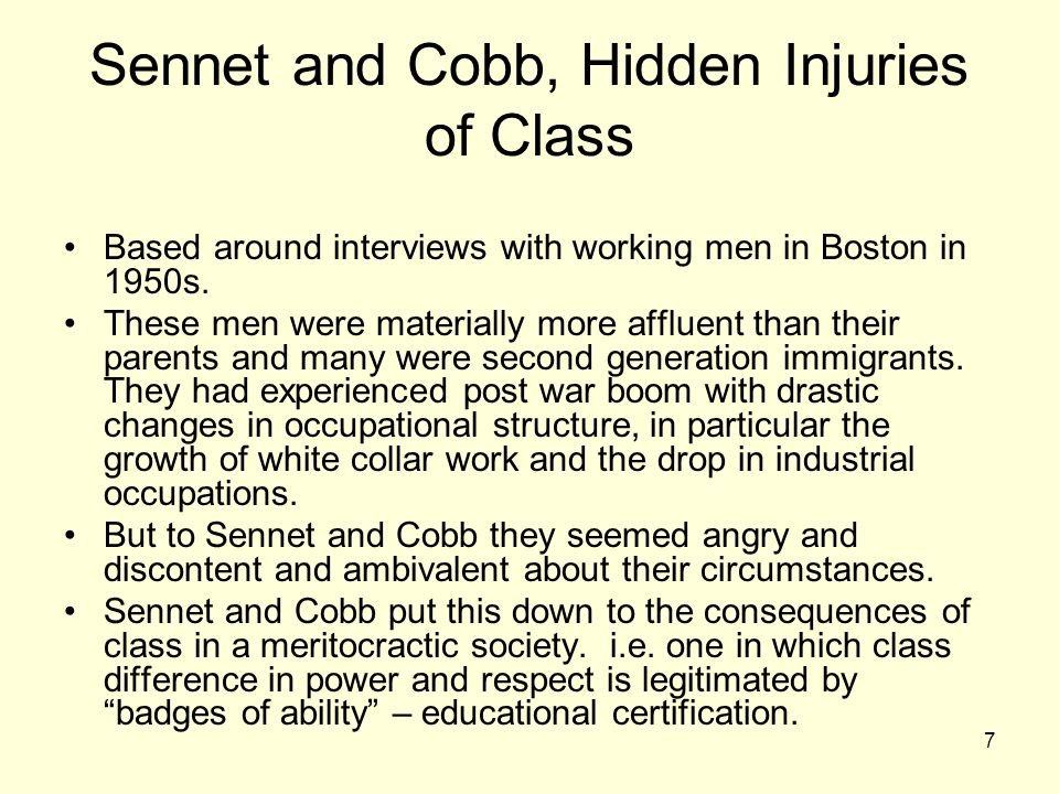 7 Sennet and Cobb, Hidden Injuries of Class Based around interviews with working men in Boston in 1950s.