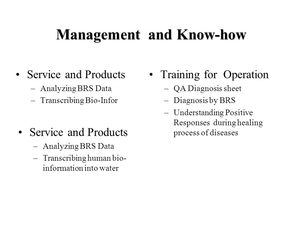 Management and Know-how Service and Products –Analyzing BRS Data –Transcribing Bio-Infor Training for Operation –QA Diagnosis sheet –Diagnosis by BRS