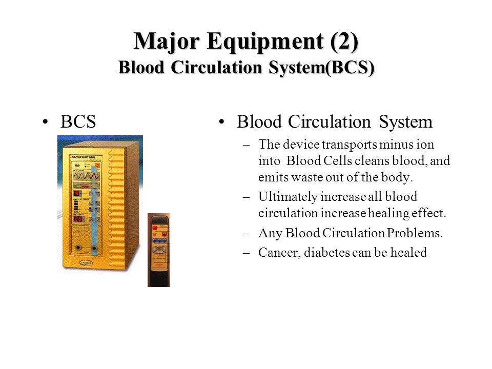 Major Equipment (2) Blood Circulation System(BCS) BCSBlood Circulation System –The device transports minus ion into Blood Cells cleans blood, and emit