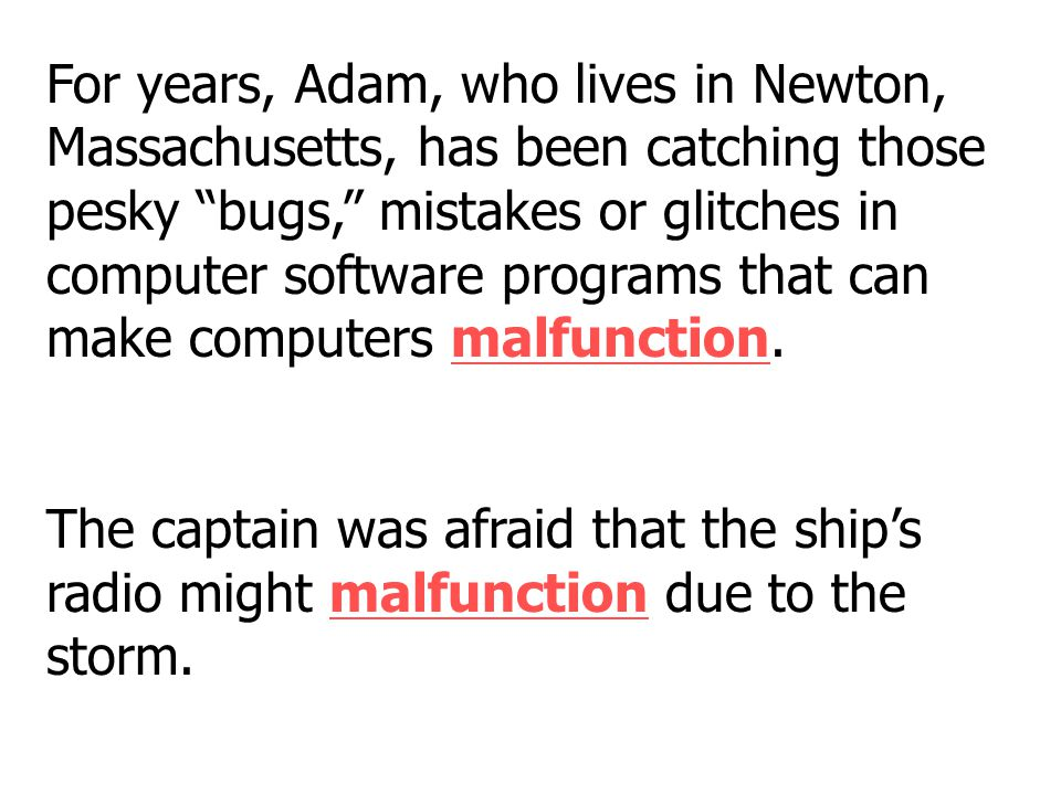 For years, Adam, who lives in Newton, Massachusetts, has been catching those pesky bugs, mistakes or glitches in computer software programs that can make computers malfunction.