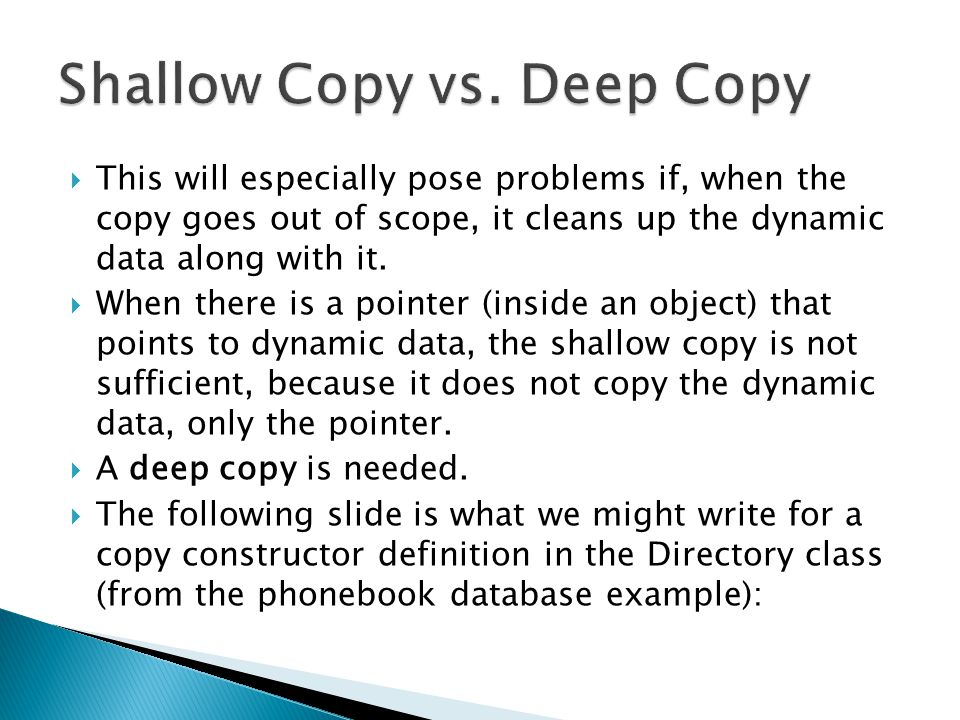  This will especially pose problems if, when the copy goes out of scope, it cleans up the dynamic data along with it.