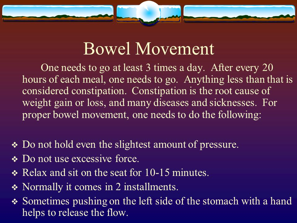 Bowel Movement One needs to go at least 3 times a day.