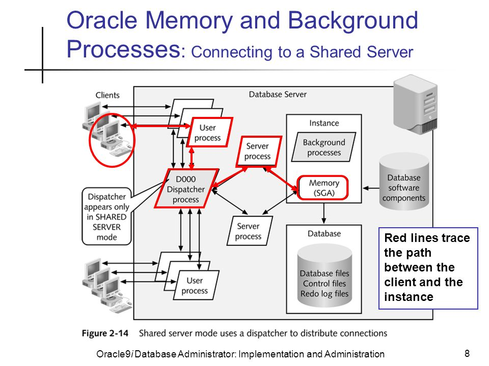 Oracle9i Database Administrator: Implementation and Administration 8 Oracle Memory and Background Processes : Connecting to a Shared Server Red lines trace the path between the client and the instance