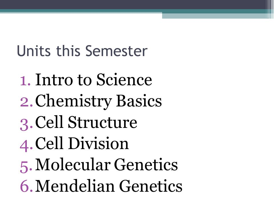 Units this Semester 1.Intro to Science 2.Chemistry Basics 3.Cell Structure 4.Cell Division 5.Molecular Genetics 6.Mendelian Genetics