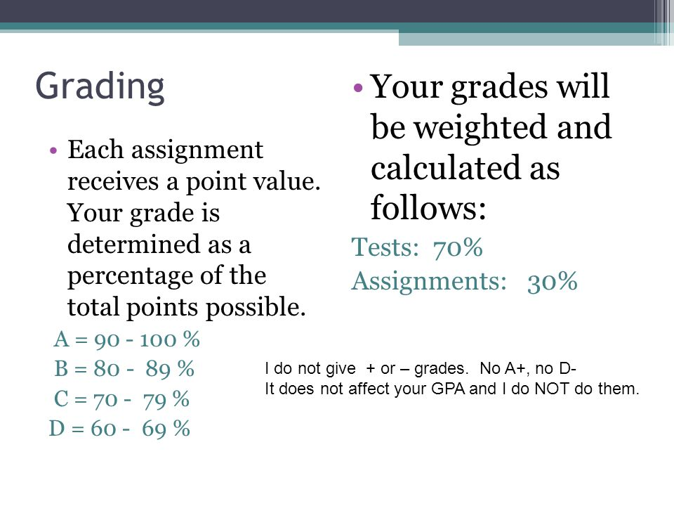 Grading Each assignment receives a point value.