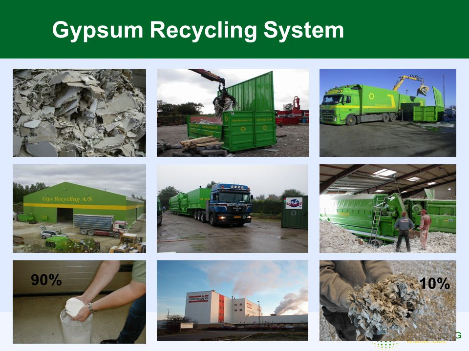 Gypsum Recycling System 90% 10%