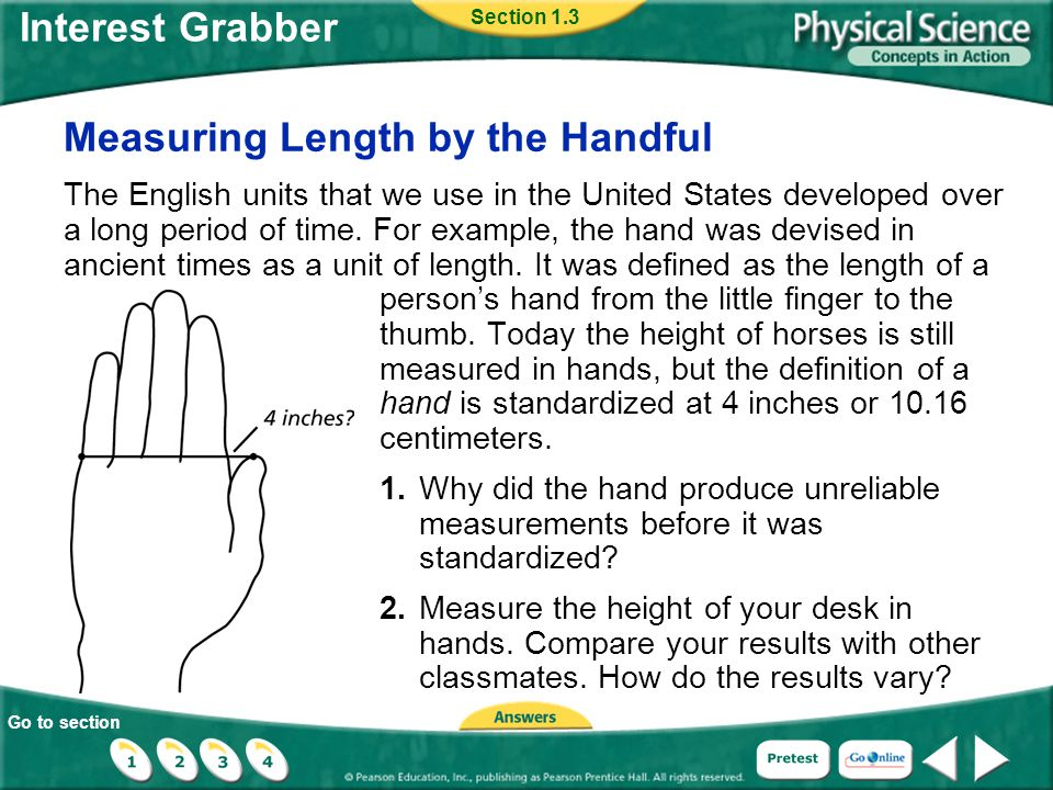 Go to section Interest Grabber Measuring Length by the Handful The English units that we use in the United States developed over a long period of time