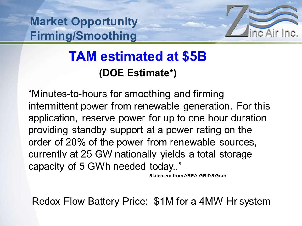 Redox Flow Battery Price: $1M for a 4MW-Hr system TAM estimated at $5B (DOE Estimate*) Market Opportunity Firming/Smoothing Minutes-to-hours for smoothing and firming intermittent power from renewable generation.