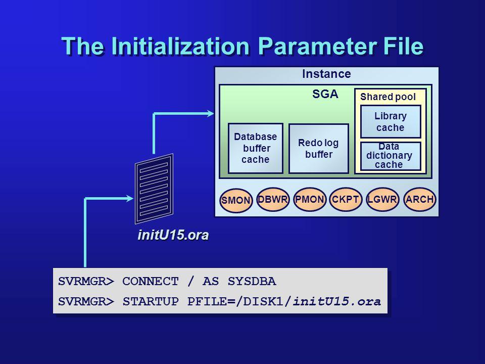 The Initialization Parameter File SVRMGR> CONNECT / AS SYSDBA SVRMGR> STARTUP PFILE=/DISK1/initU15.ora SVRMGR> CONNECT / AS SYSDBA SVRMGR> STARTUP PFI