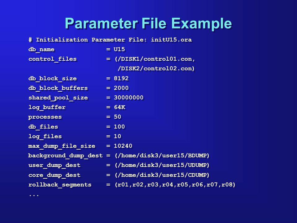 Parameter File Example # Initialization Parameter File: initU15.ora db_name = U15 control_files = (/DISK1/control01.con, /DISK2/control02.con) db_block_size = 8192 db_block_buffers = 2000 shared_pool_size = 30000000 log_buffer = 64K processes = 50 db_files = 100 log_files = 10 max_dump_file_size = 10240 background_dump_dest = (/home/disk3/user15/BDUMP) user_dump_dest = (/home/disk3/user15/UDUMP) core_dump_dest = (/home/disk3/user15/CDUMP) rollback_segments = (r01,r02,r03,r04,r05,r06,r07,r08)...