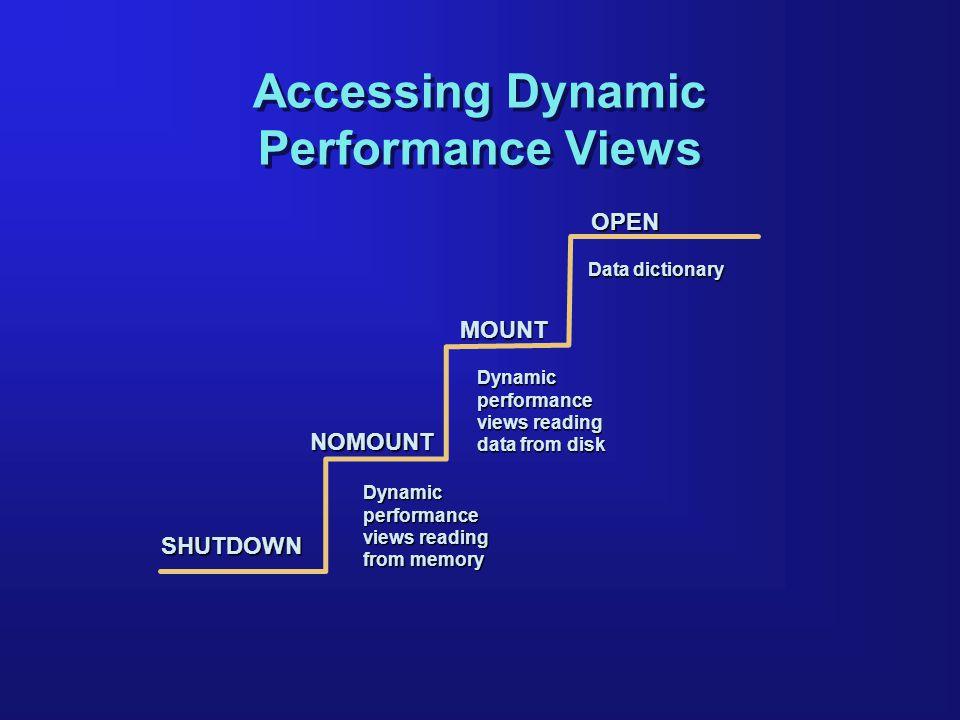 OPEN MOUNT NOMOUNT Data dictionary Accessing Dynamic Performance Views Dynamic performance views reading data from disk Dynamicperformance views readi