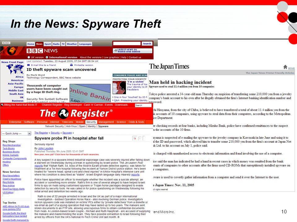 Copyright 2005 - Trend Micro Inc. 10 In the News: Spyware Theft