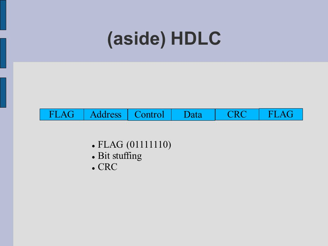 (aside) HDLC FLAG Address Control Data CRC FLAG FLAG (01111110) Bit stuffing CRC