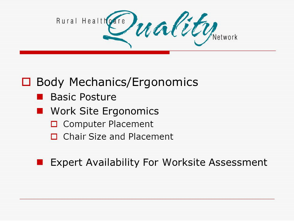  Body Mechanics/Ergonomics Basic Posture Work Site Ergonomics  Computer Placement  Chair Size and Placement Expert Availability For Worksite Assessment