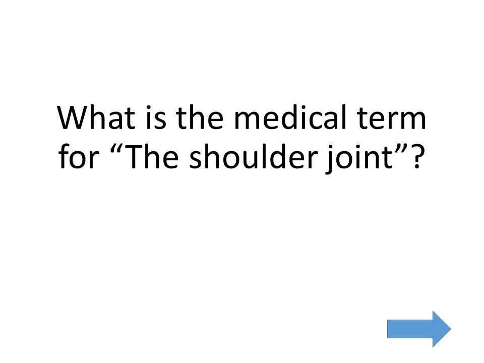 What is the medical term for The shoulder joint