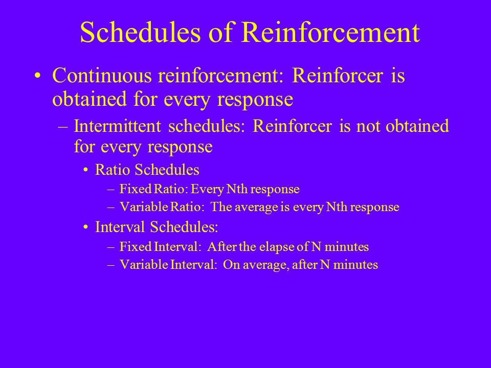 Schedules of Reinforcement Continuous reinforcement: Reinforcer is obtained for every response –Intermittent schedules: Reinforcer is not obtained for every response Ratio Schedules –Fixed Ratio: Every Nth response –Variable Ratio: The average is every Nth response Interval Schedules: –Fixed Interval: After the elapse of N minutes –Variable Interval: On average, after N minutes
