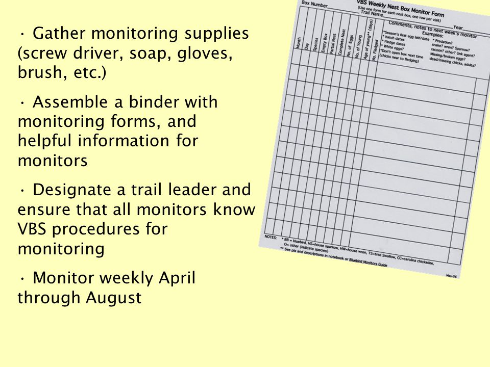 Gather monitoring supplies (screw driver, soap, gloves, brush, etc.) Assemble a binder with monitoring forms, and helpful information for monitors Designate a trail leader and ensure that all monitors know VBS procedures for monitoring Monitor weekly April through August