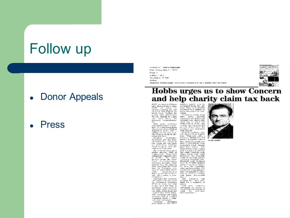 Follow up Donor Appeals Press