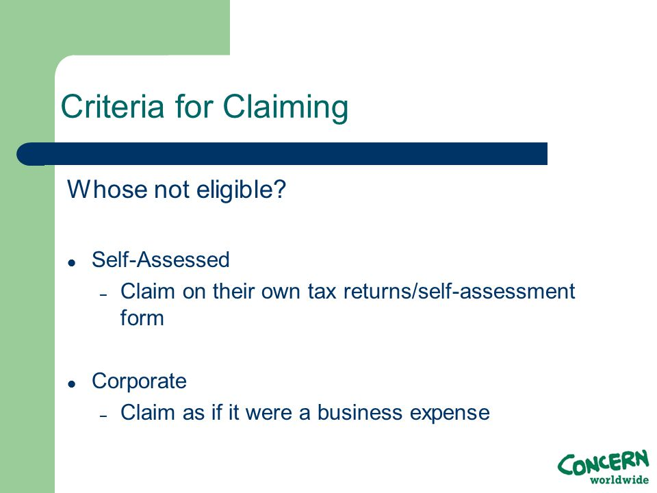 Criteria for Claiming Whose not eligible.