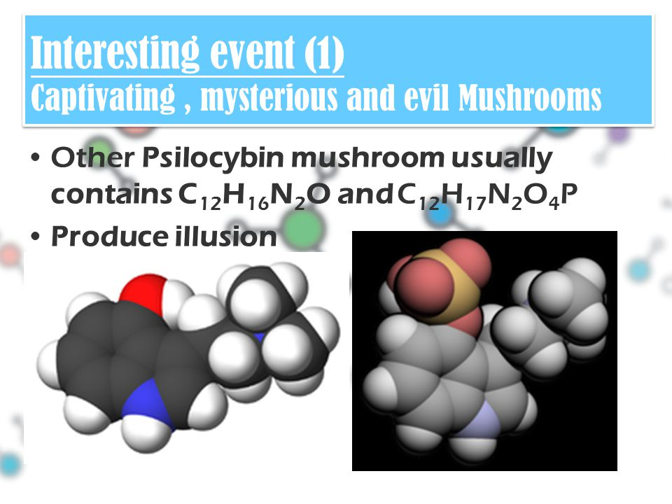Other Psilocybin mushroom usually contains C 12 H 16 N 2 O and C 12 H 17 N 2 O 4 P Produce illusion Interesting event (1) Captivating, mysterious and evil Mushrooms