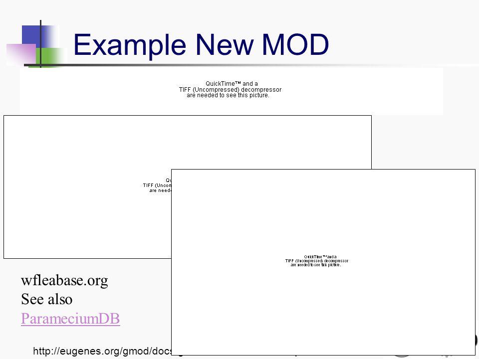 http://eugenes.org/gmod/docs/gmod-arthrobase-07dec.pdf Example New MOD wfleabase.org See also ParameciumDB