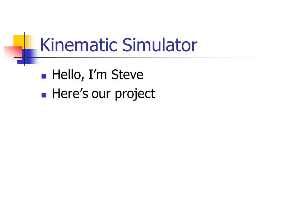 Kinematic Simulator Hello, I'm Helena Here's our design