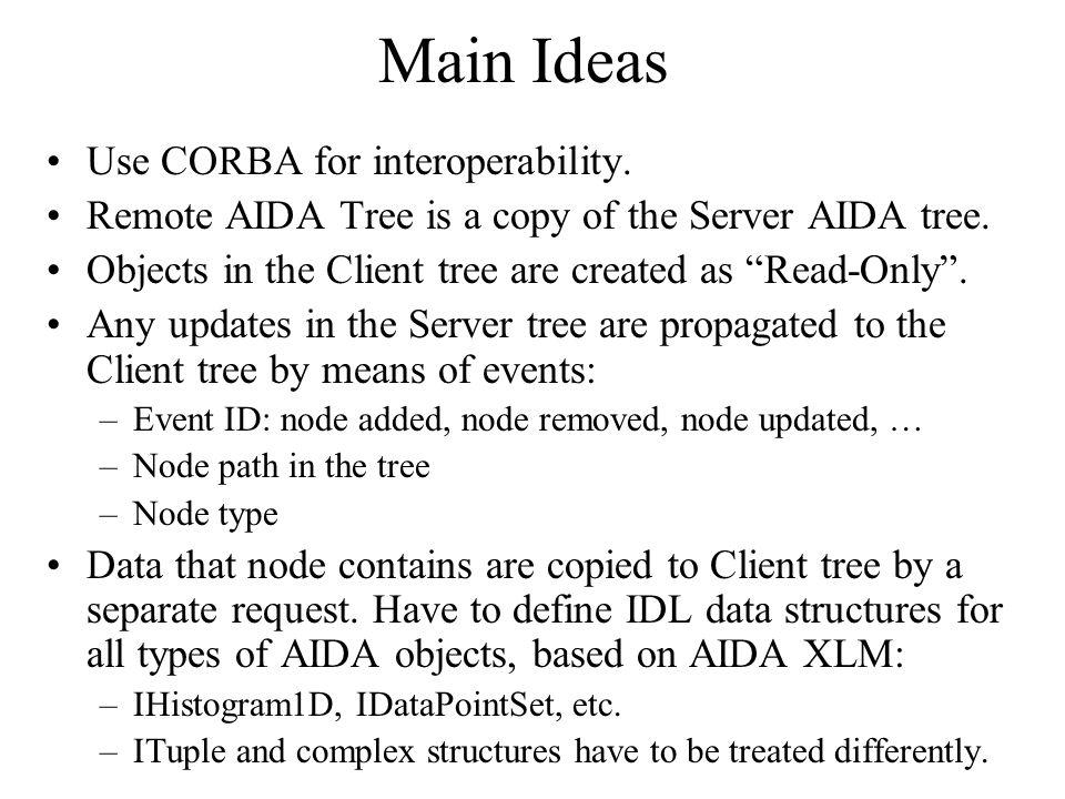 Main Ideas Use CORBA for interoperability. Remote AIDA Tree is a copy of the Server AIDA tree.