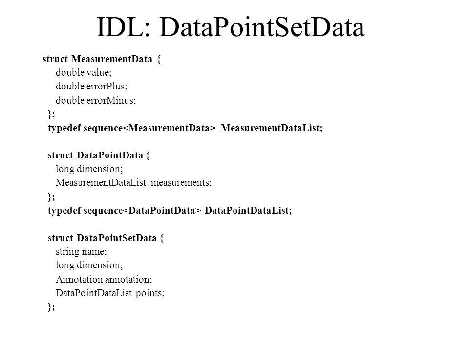 IDL: DataPointSetData struct MeasurementData { double value; double errorPlus; double errorMinus; }; typedef sequence MeasurementDataList; struct DataPointData { long dimension; MeasurementDataList measurements; }; typedef sequence DataPointDataList; struct DataPointSetData { string name; long dimension; Annotation annotation; DataPointDataList points; };