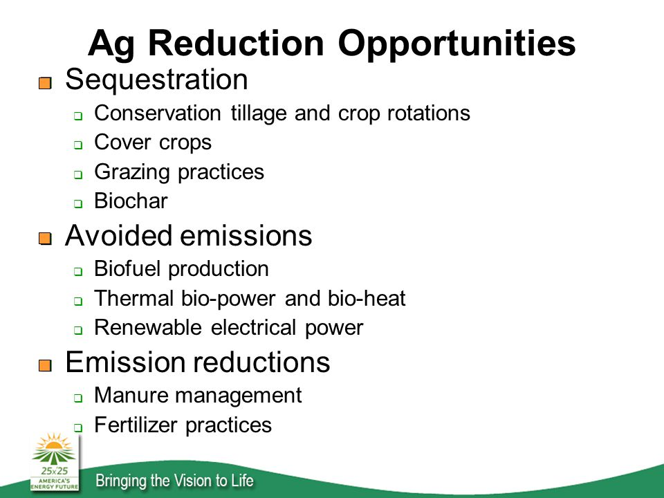 Ag Reduction Opportunities Sequestration  Conservation tillage and crop rotations  Cover crops  Grazing practices  Biochar Avoided emissions  Biofuel production  Thermal bio-power and bio-heat  Renewable electrical power Emission reductions  Manure management  Fertilizer practices
