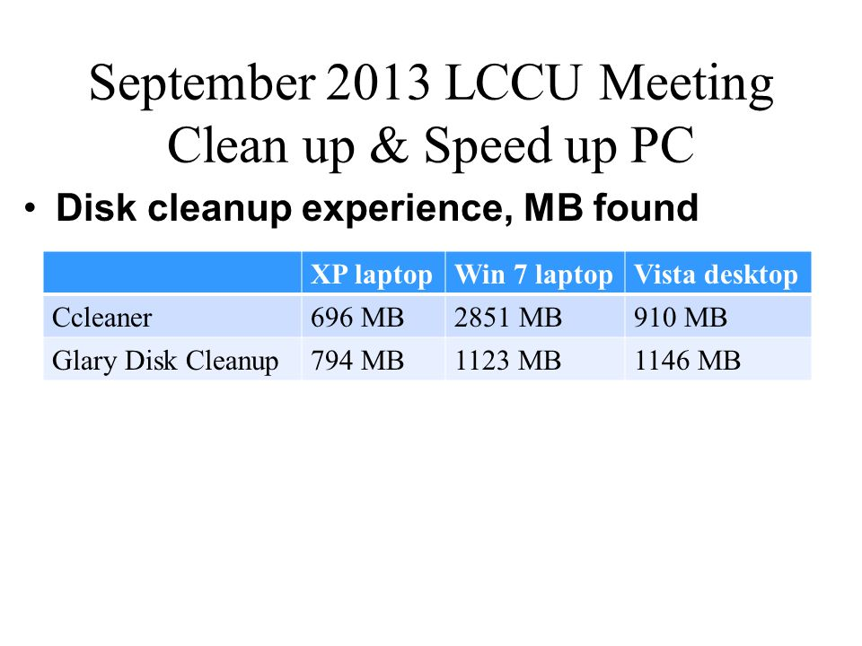 September 2013 LCCU Meeting Clean up & Speed up PC Disk cleanup experience, MB found XP laptopWin 7 laptopVista desktop Ccleaner696 MB2851 MB910 MB Gl