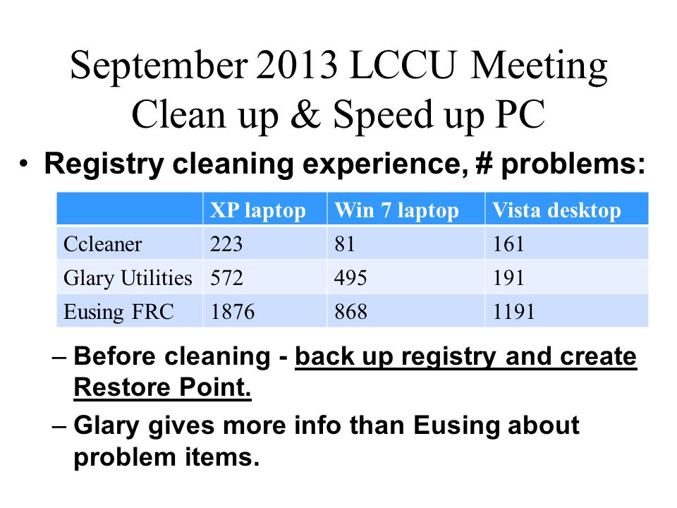 September 2013 LCCU Meeting Clean up & Speed up PC Programs to clean up and speed up a PC –Glary Utilities One-click maintenance:Glary Utilities Fixes invalid/incorrect registry entries.