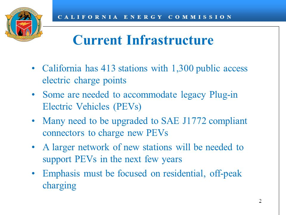 C A L I F O R N I A E N E R G Y C O M M I S S I O N Current Infrastructure California has 413 stations with 1,300 public access electric charge points Some are needed to accommodate legacy Plug-in Electric Vehicles (PEVs) Many need to be upgraded to SAE J1772 compliant connectors to charge new PEVs A larger network of new stations will be needed to support PEVs in the next few years Emphasis must be focused on residential, off-peak charging 2