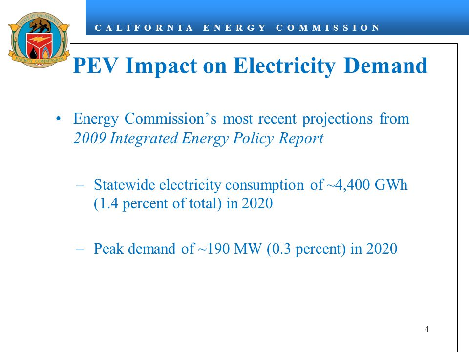 C A L I F O R N I A E N E R G Y C O M M I S S I O N PEV Impact on Electricity Demand Energy Commission's most recent projections from 2009 Integrated Energy Policy Report –Statewide electricity consumption of ~4,400 GWh (1.4 percent of total) in 2020 –Peak demand of ~190 MW (0.3 percent) in 2020 4